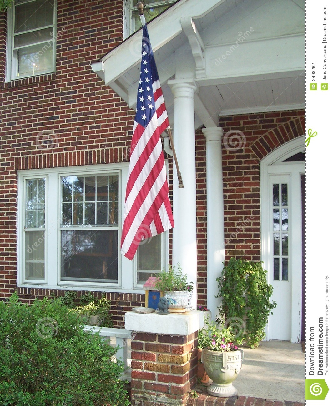American Flag On Porch Stock Photography Image 2498262