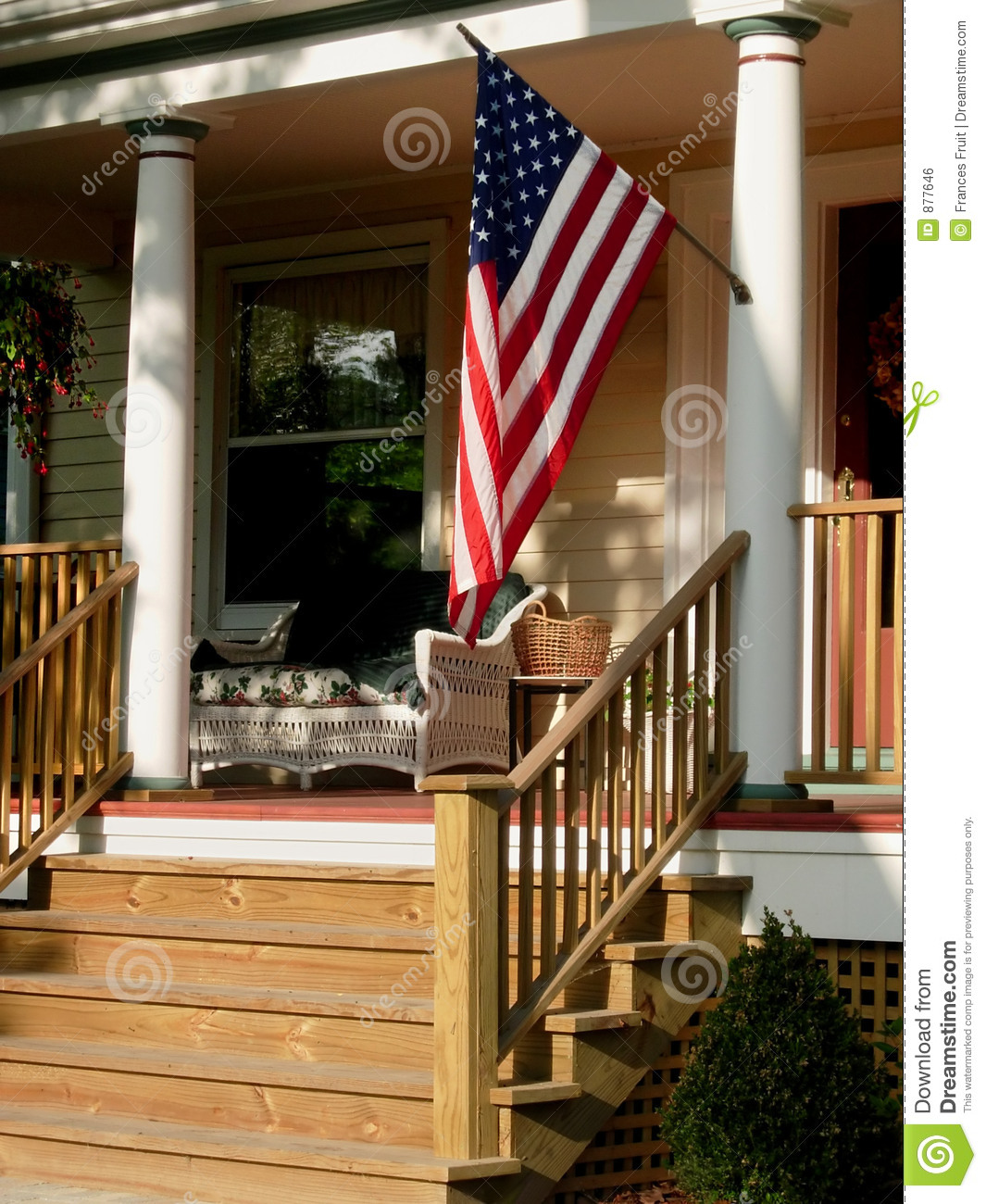 American Flag On Porch Royalty Free Stock Image Image 877646