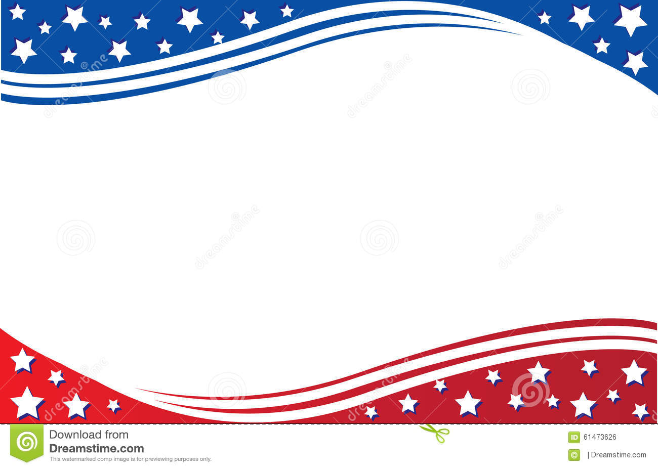 American Flag Postcard Template Stock Illustration - Image: 61473626