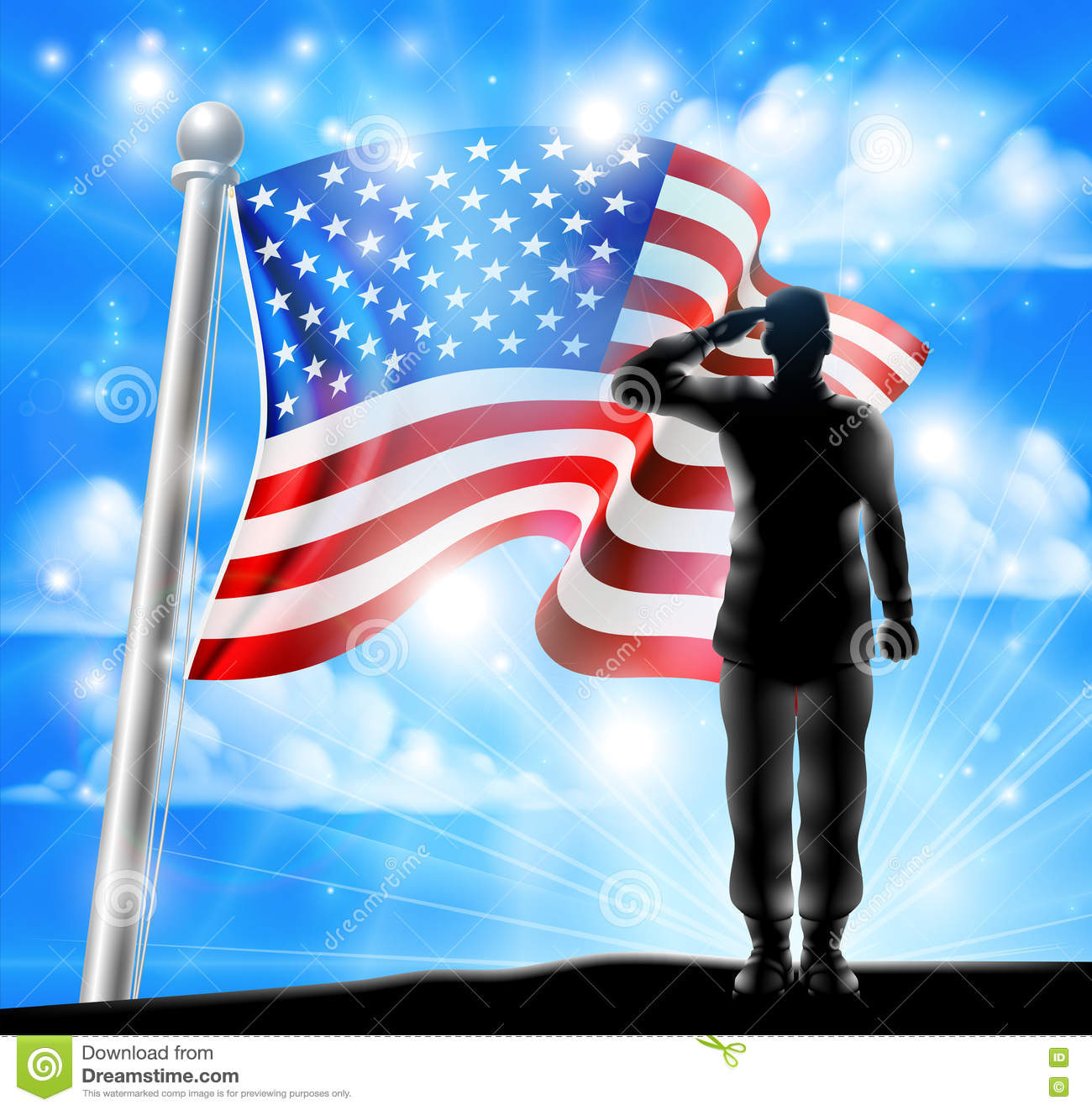 american flag and silhouette soldier saluting stock vector