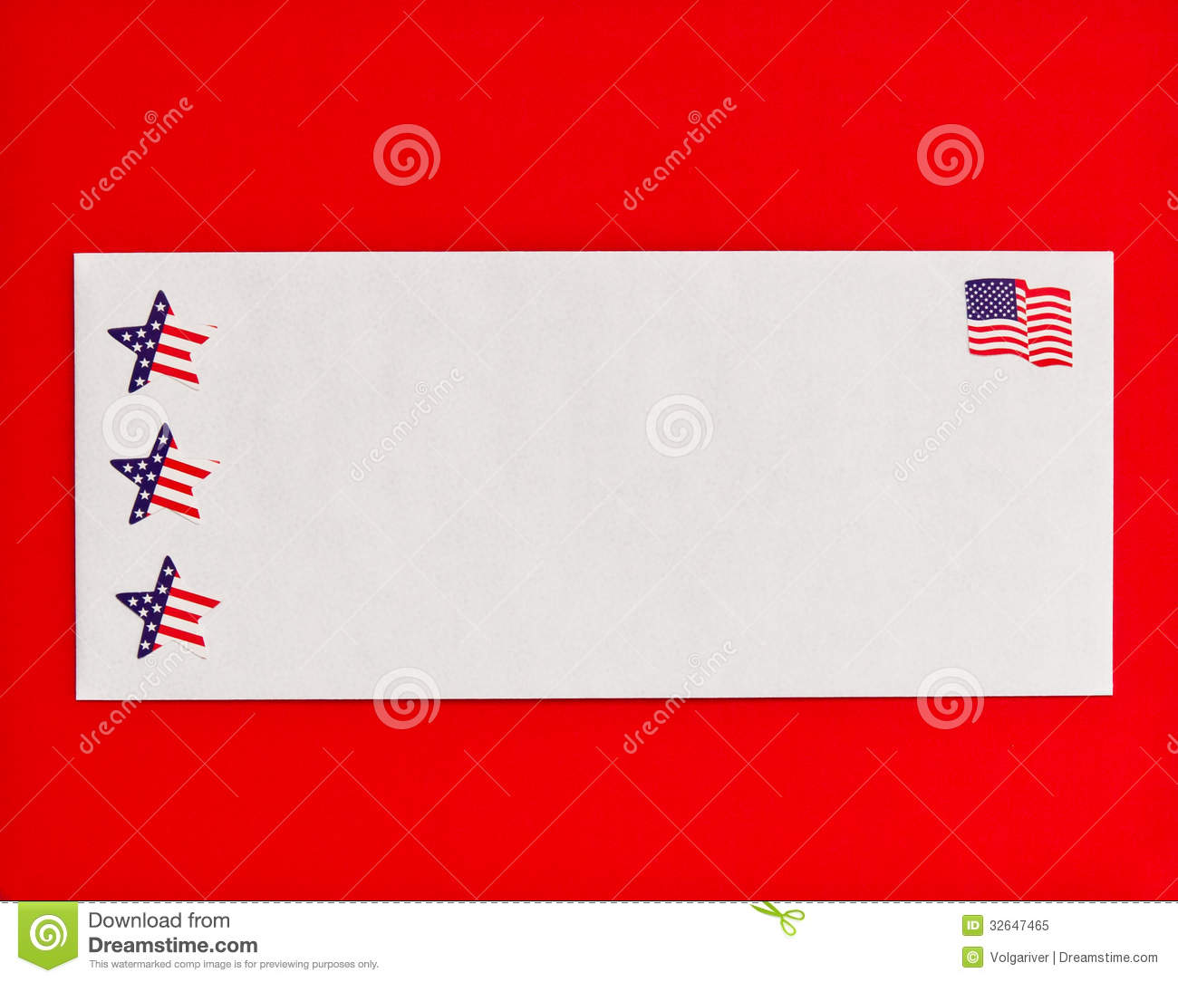 American Flag And Stars Symbols On Mail Envelope Stock Image Image