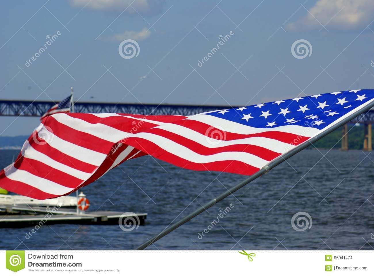 American flag fabric ripples in breeze