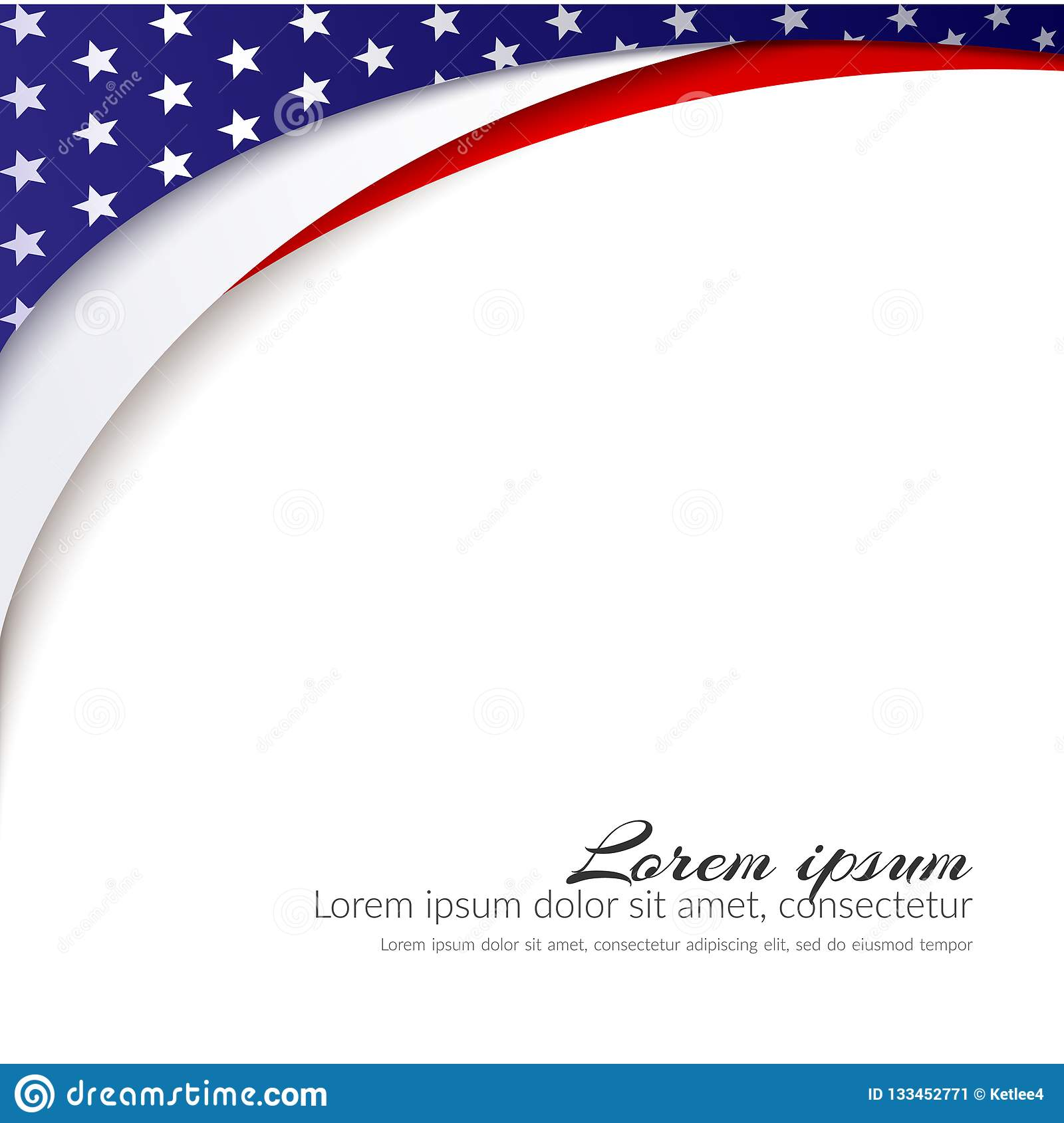 American Flag Vector background for Independence Day and other events Patriotic background with stars and smooth wavy lines
