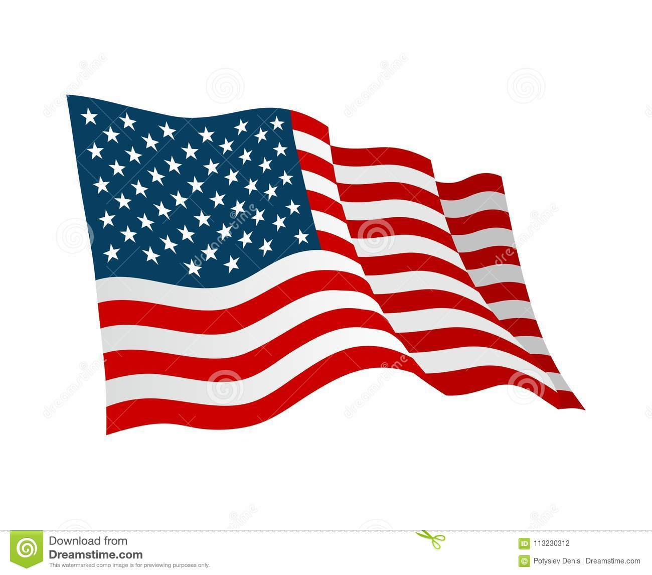 American flag. Vector flat color illustration isolated on white