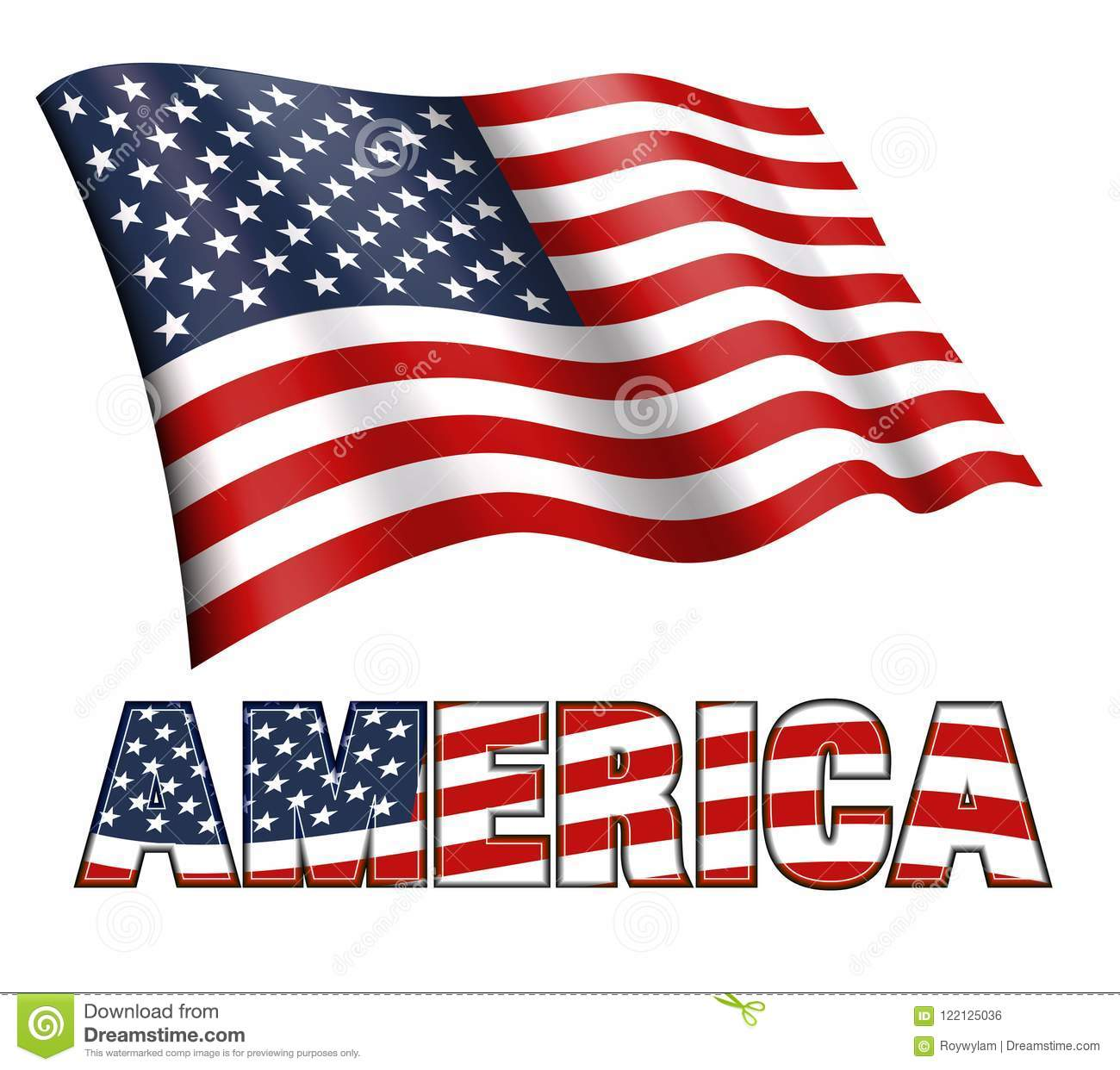 American Flag Waving With AMERICA And Stars And Stripes ...