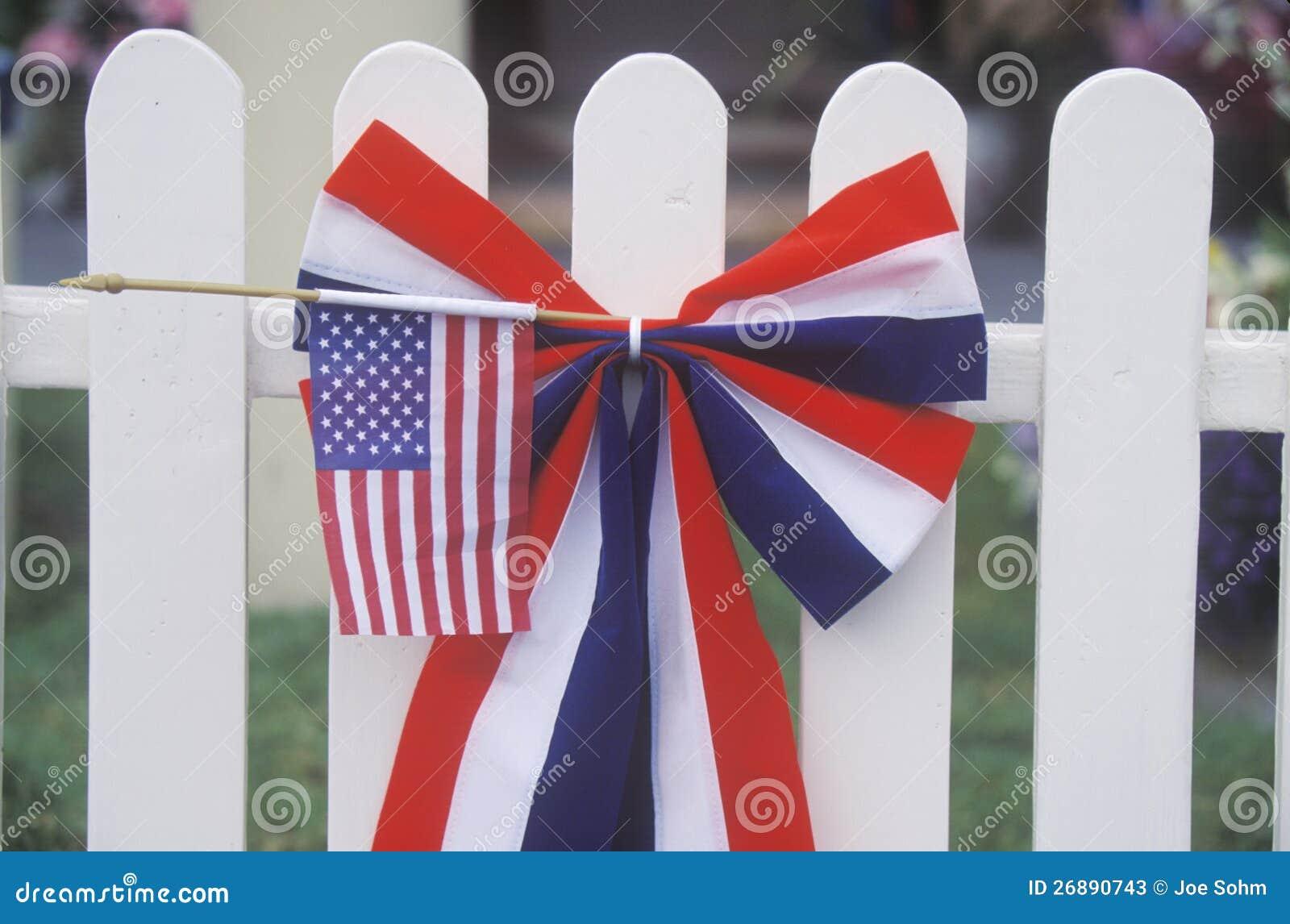 American Flag On White Picket Fence Stock Image Image