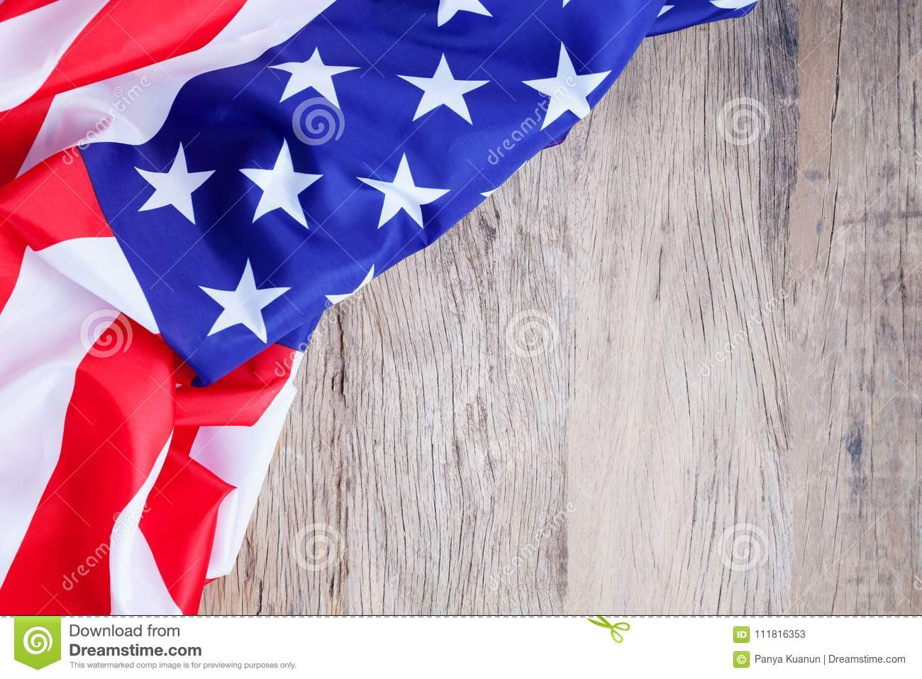 American Flag On Wood Background For Add Text Memorial Day Or 4th Of