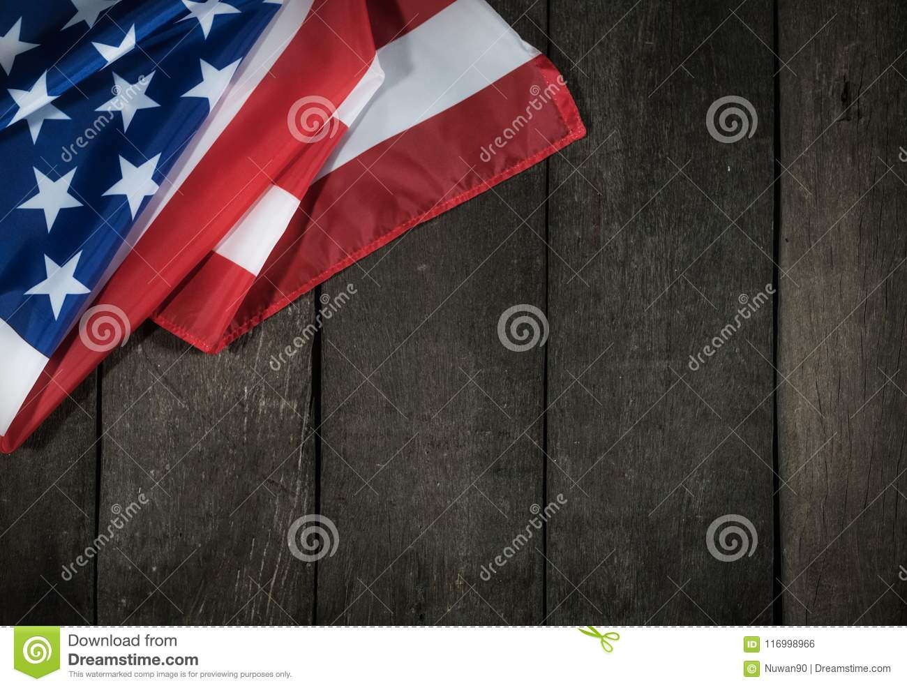 American flag on wood background for Memorial Day or 4th of July