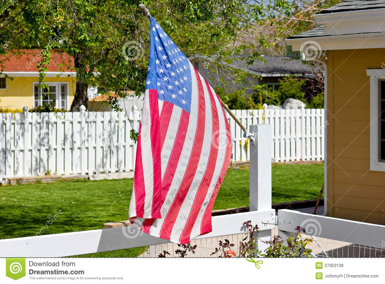 American Flag Wooden Fence Stock Photo Image Of Fourth