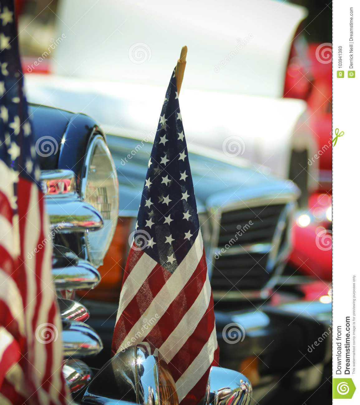 American Flags And Chrome A Fourth Of July Car Show Stock Image - Car show flags