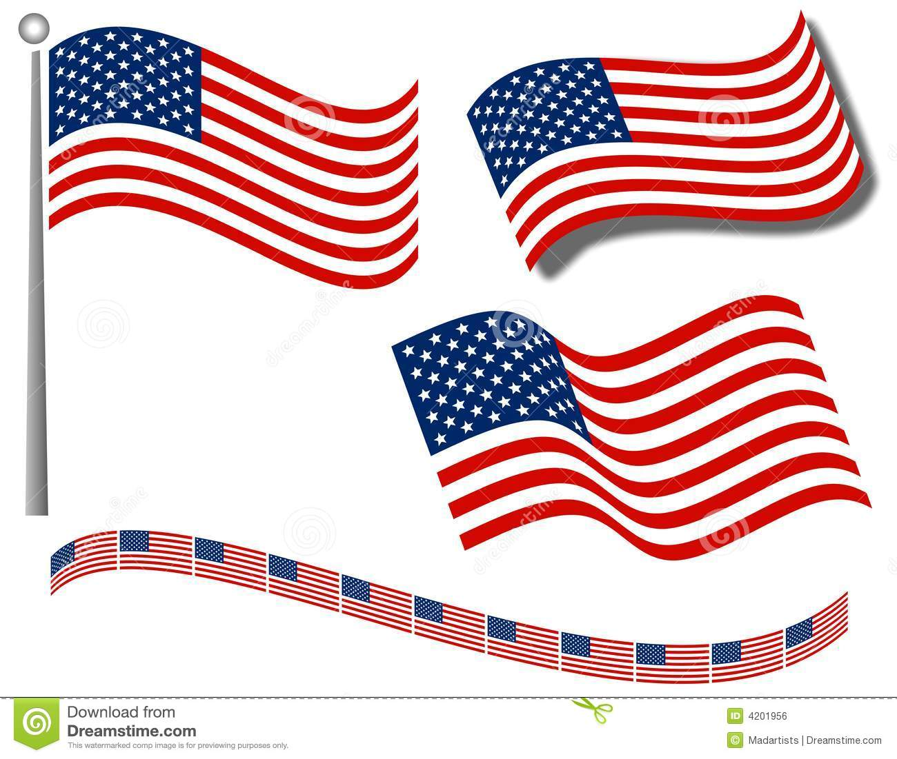 American Flags Clip Art And Divider Royalty Free Stock Image ...