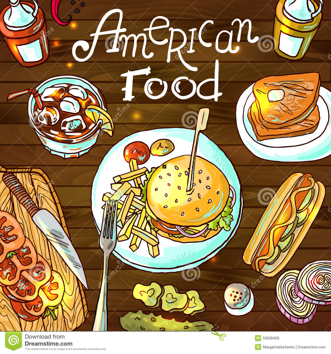 Beautiful hand drawn illustration american food top view.