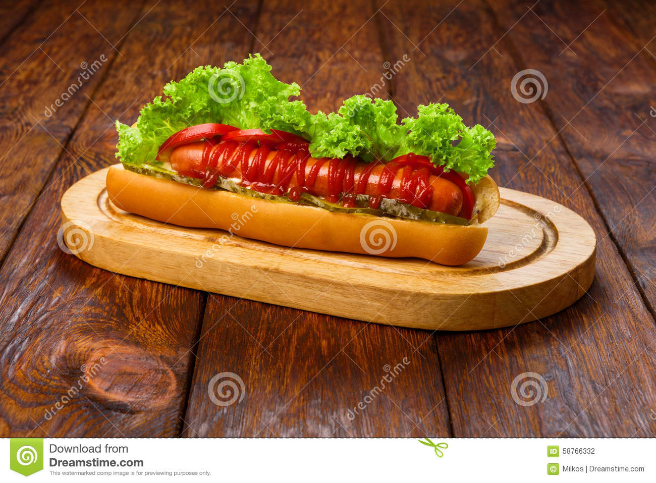 American food hot dog with tomatoes stock photo image for Cuisine wooden