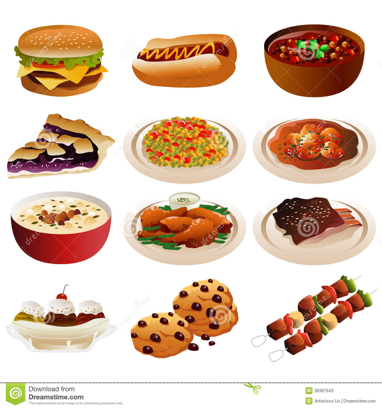 American food icons stock photos image 36397643 for About american cuisine