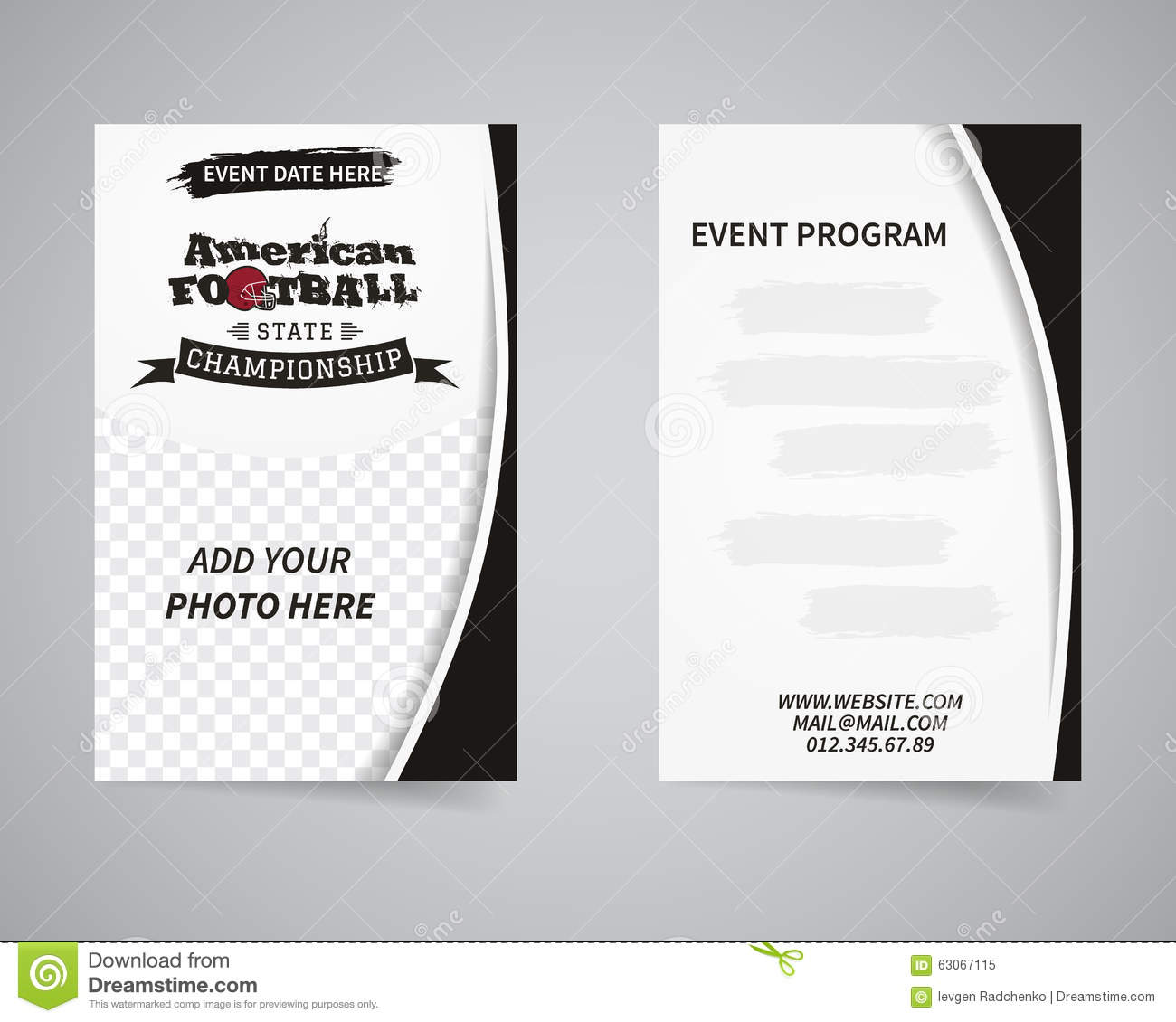 American football back and front flyer template stock for Sports program template free