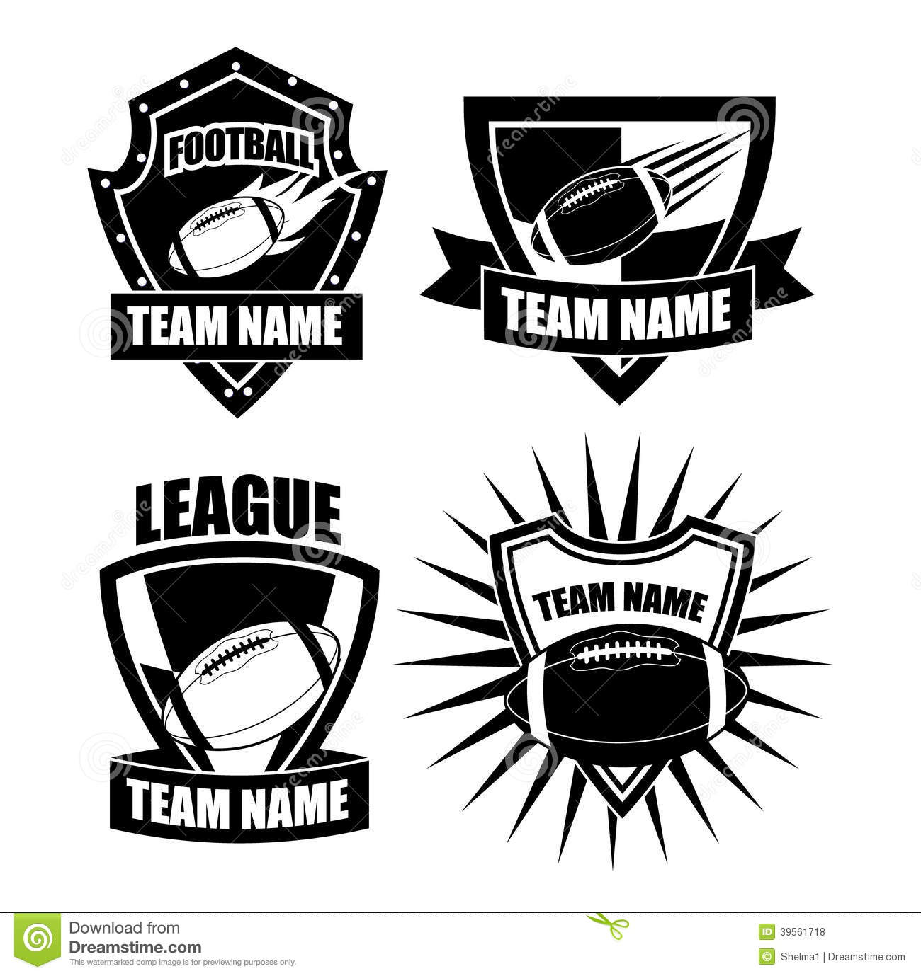 american football badge collection stock vector illustration of