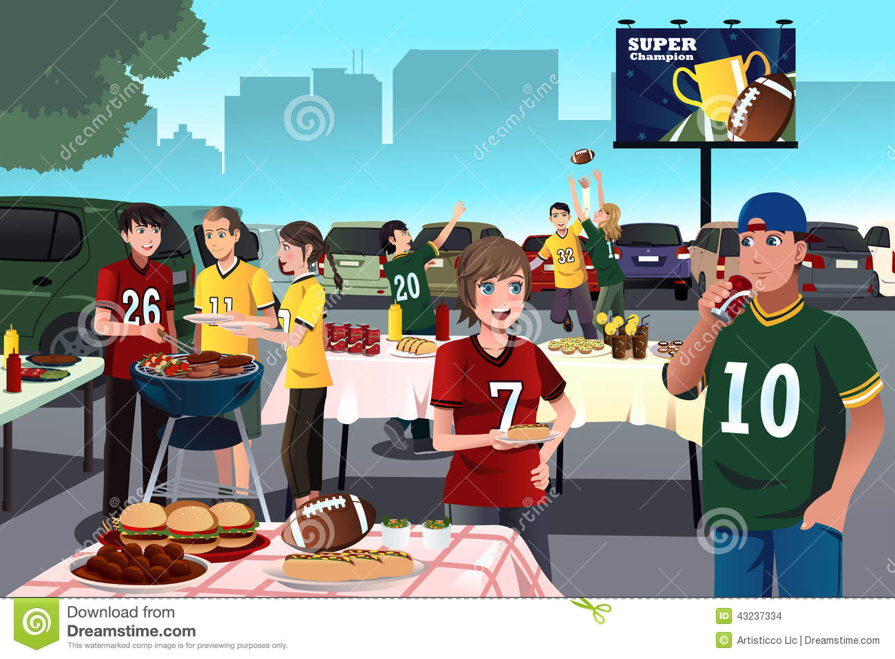 American football fans having a tailgate party vector illustration 1fb6129cc