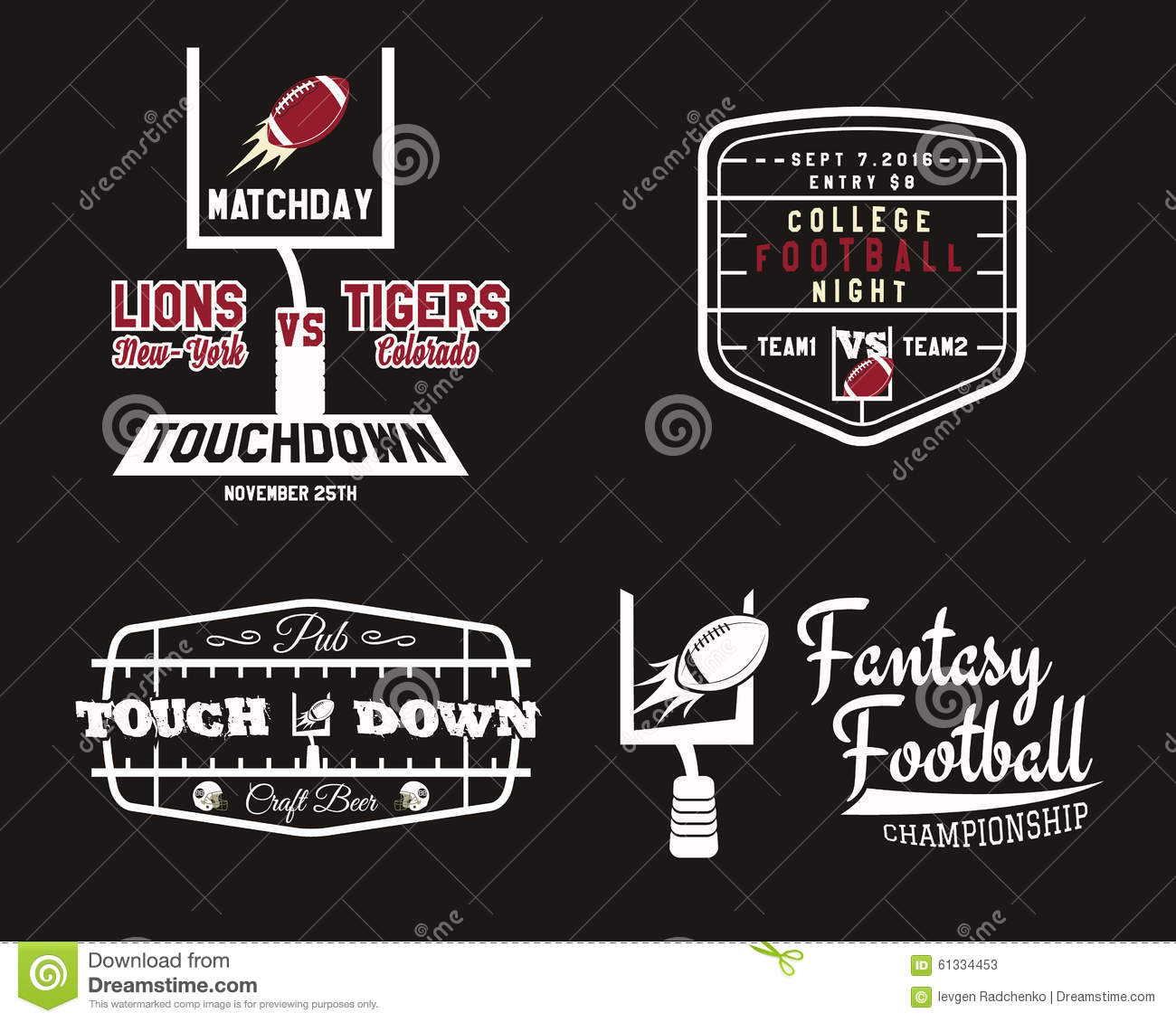 American football field and goal team badge sport stock American football style t shirts