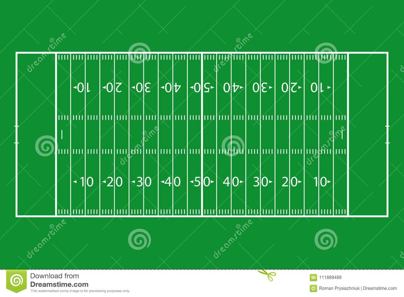 American Football Field Green Grass Court Template Background For Sport Strategy And