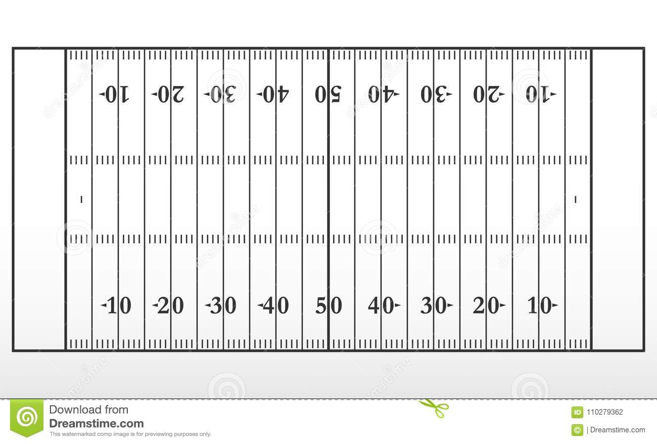 american football field markup  outline of lines on an american football field  stock vector