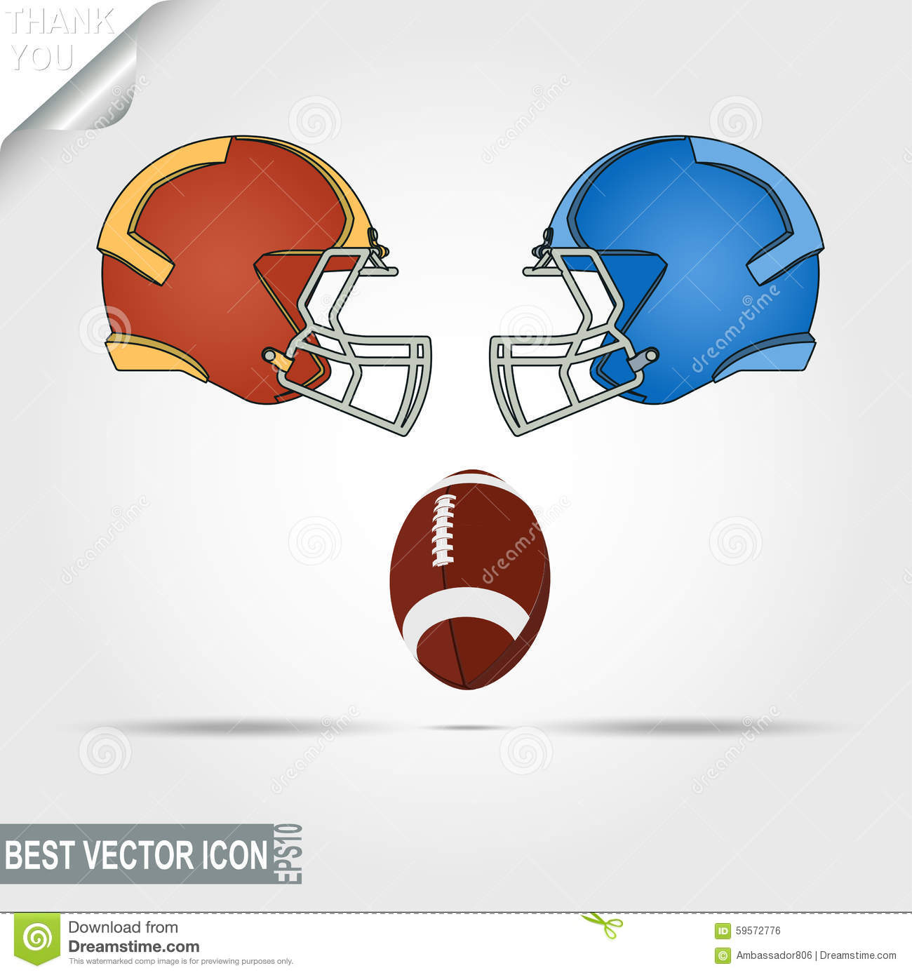 American Football Game Helmets And Ball Teams Stock Vector