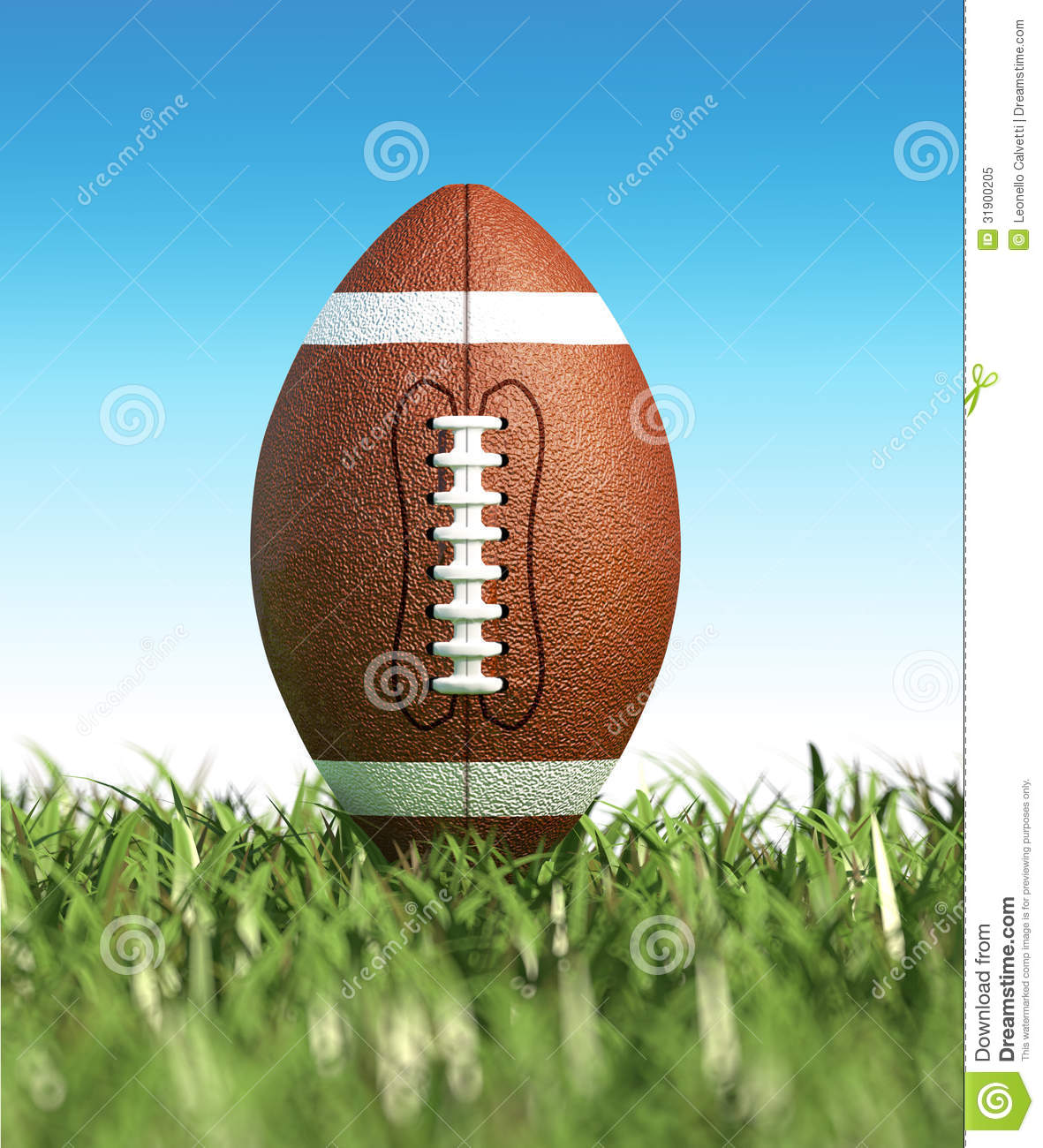 American Football, On The Grass. Close-up. Royalty Free ...