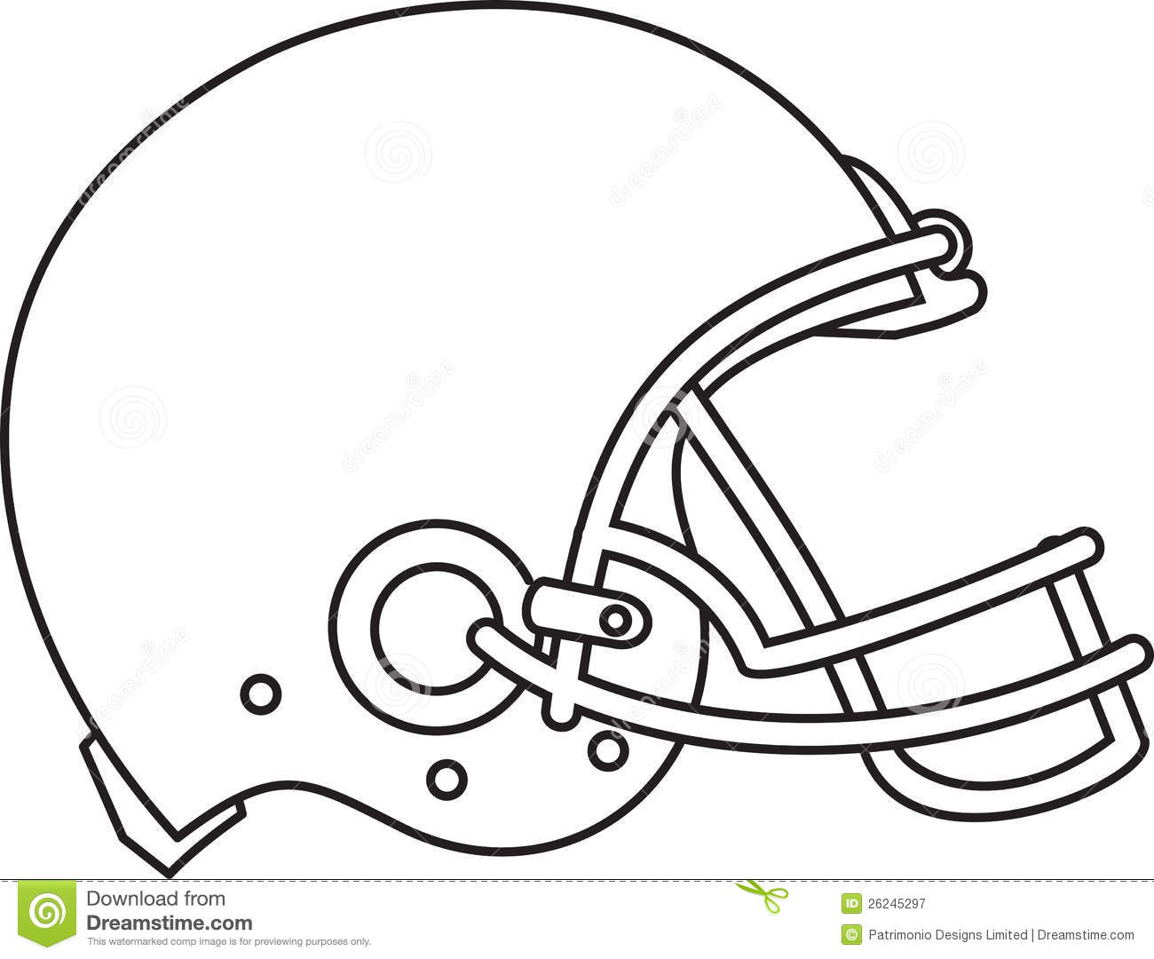 american football helmet line drawing stock vector illustration of