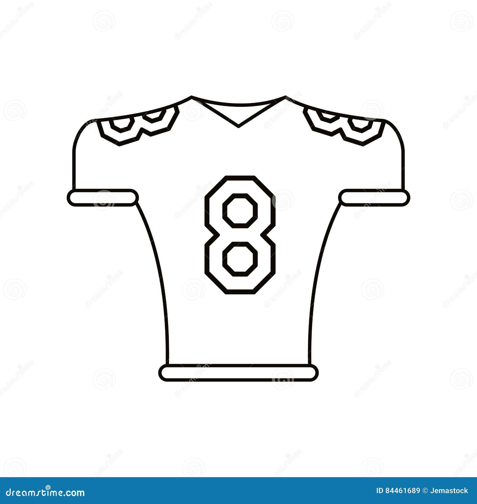 Line Art Jersey : American football jersey uniform tshirt outline stock