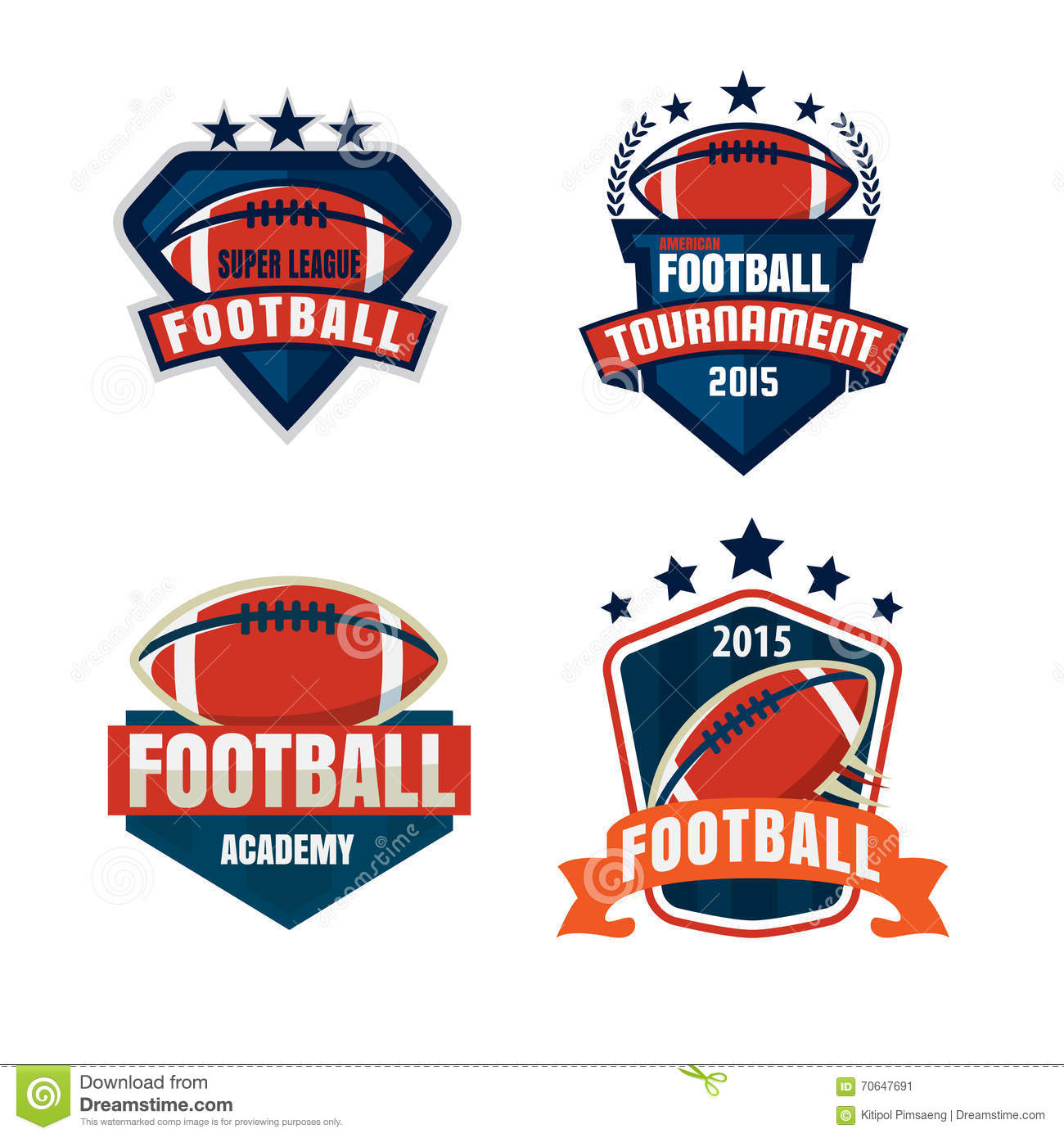 american football logo template collection stock vector