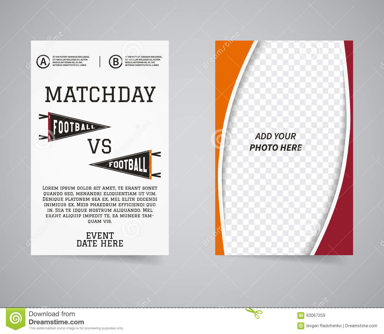 American football matchday back and front flyer stock for America brochure template