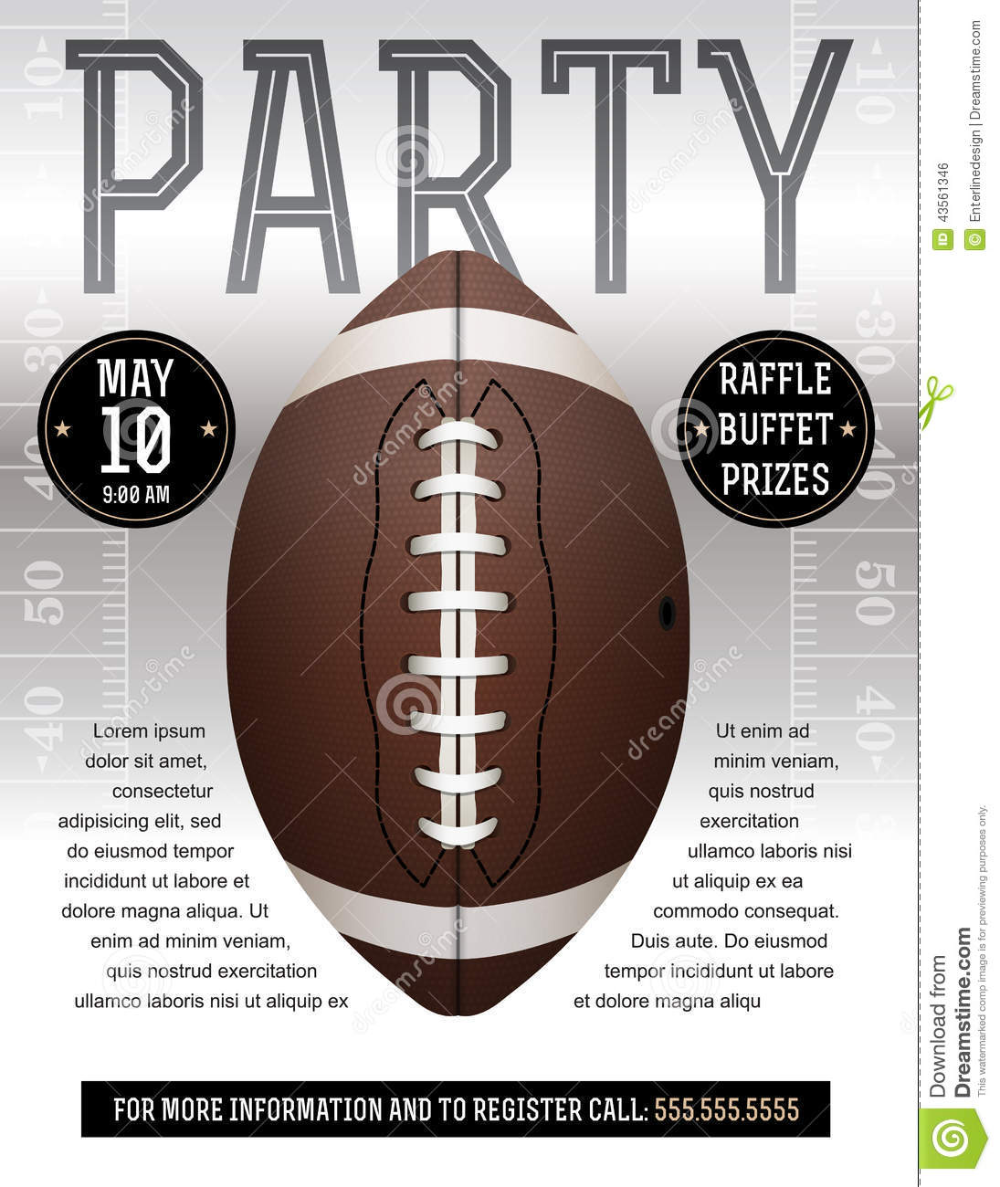 American Football Party Flyer Stock Vector Illustration Of Field