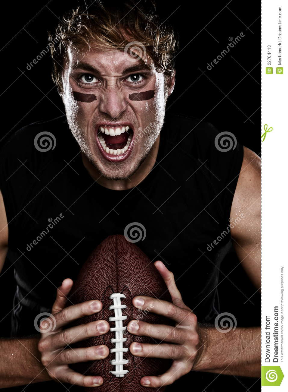 American football player screaming aggressive holding american ...