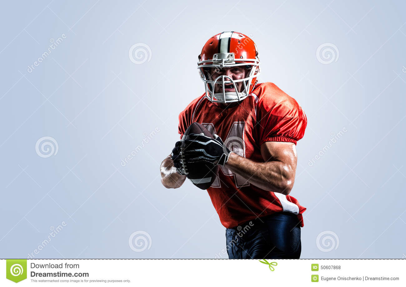 American football player in action white isolated