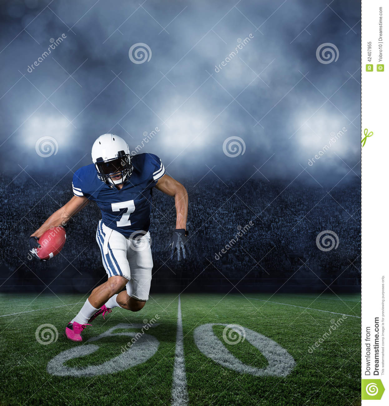 American Football Player During A Game Stock Photo - Image: 42407955