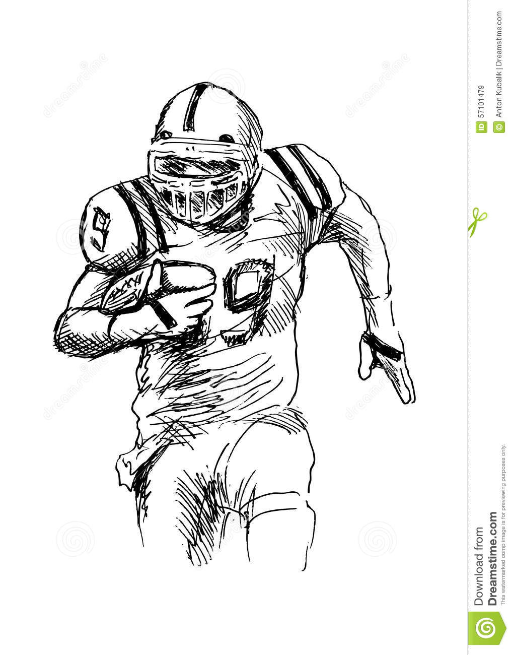 Line Drawing Football : American football player stock vector illustration of