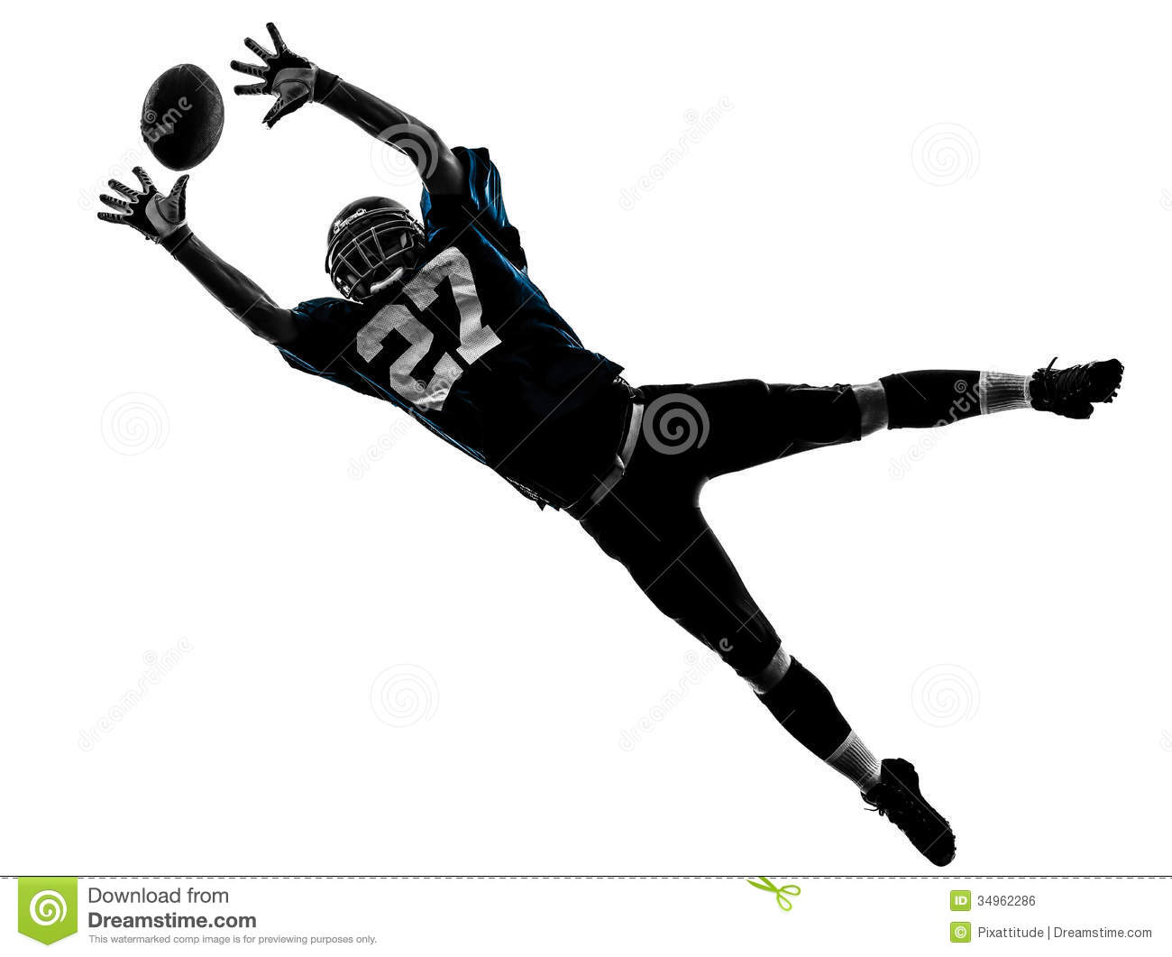 American Football Player Man Catching Receiving Silhouette Royalty ...
