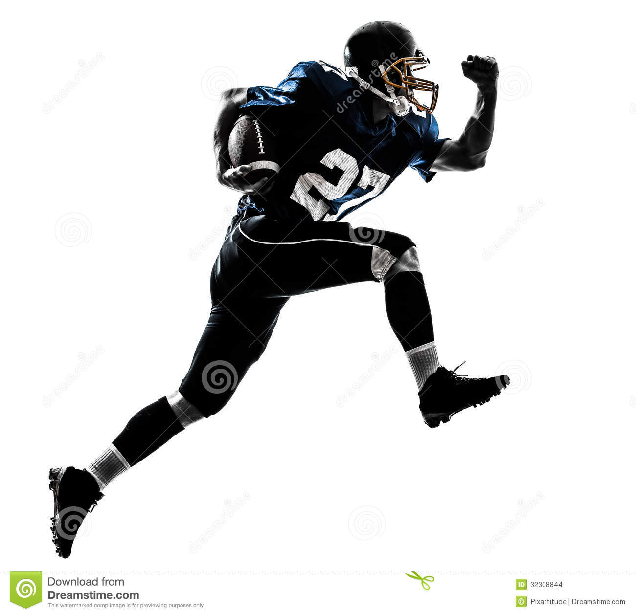 american football player man running silhouette stock image image