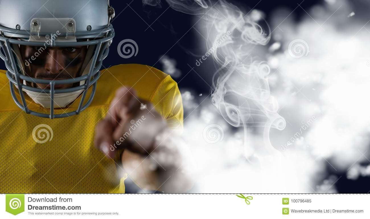 american football player pointing