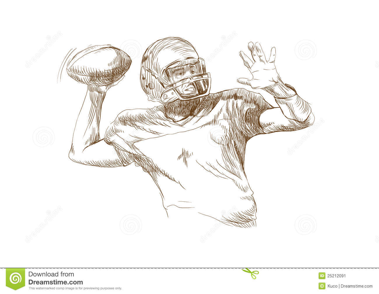 American Football Players Stock Vector. Illustration Of Drawing - 25212091