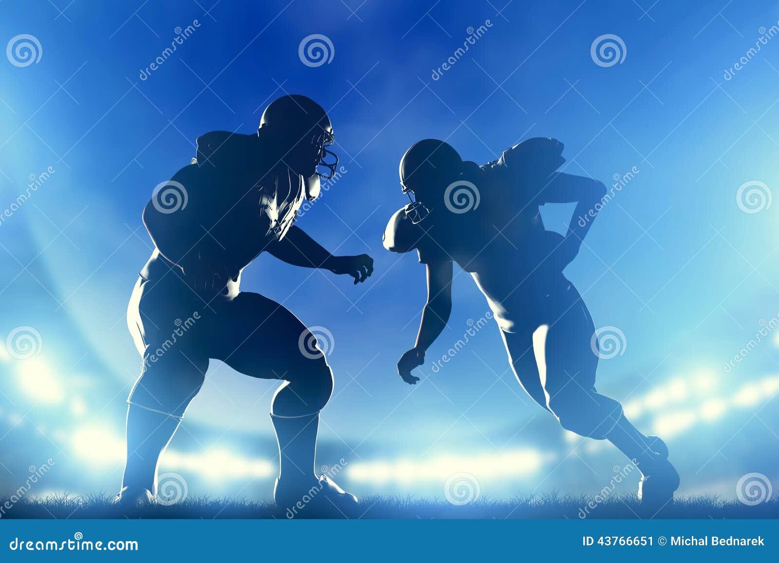 American football players in game, quarterback running. Stadium lights