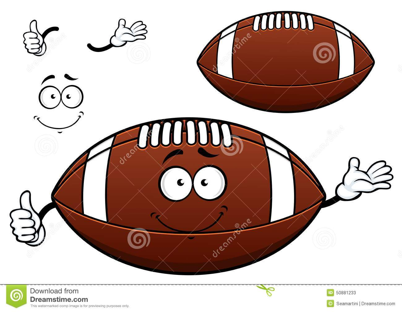 American Football Or Rugby Ball Cartoon Character Stock ...