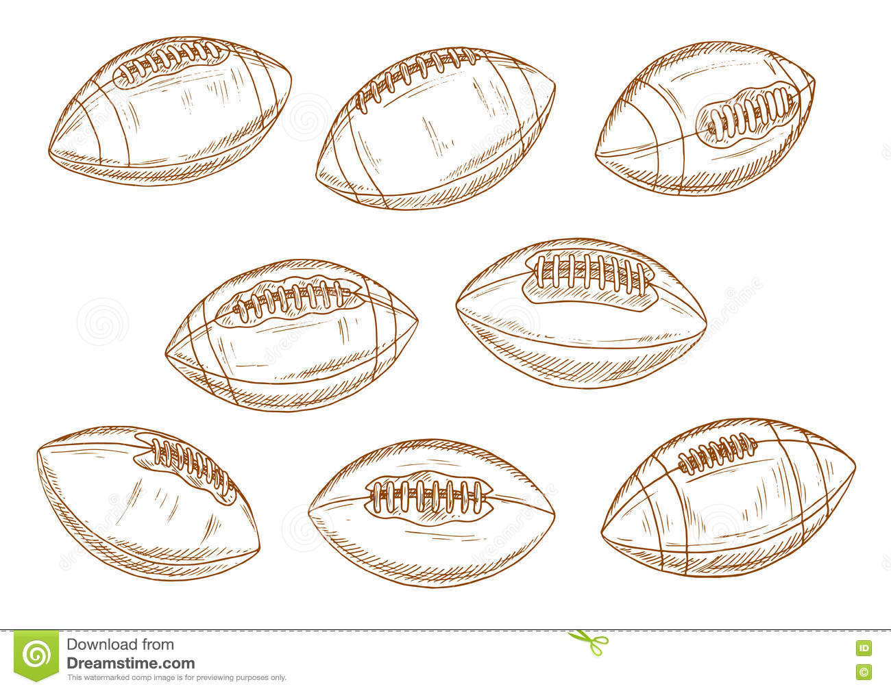 American Football Or Rugby Sports Balls Sketches Stock Vector - Image 75444373