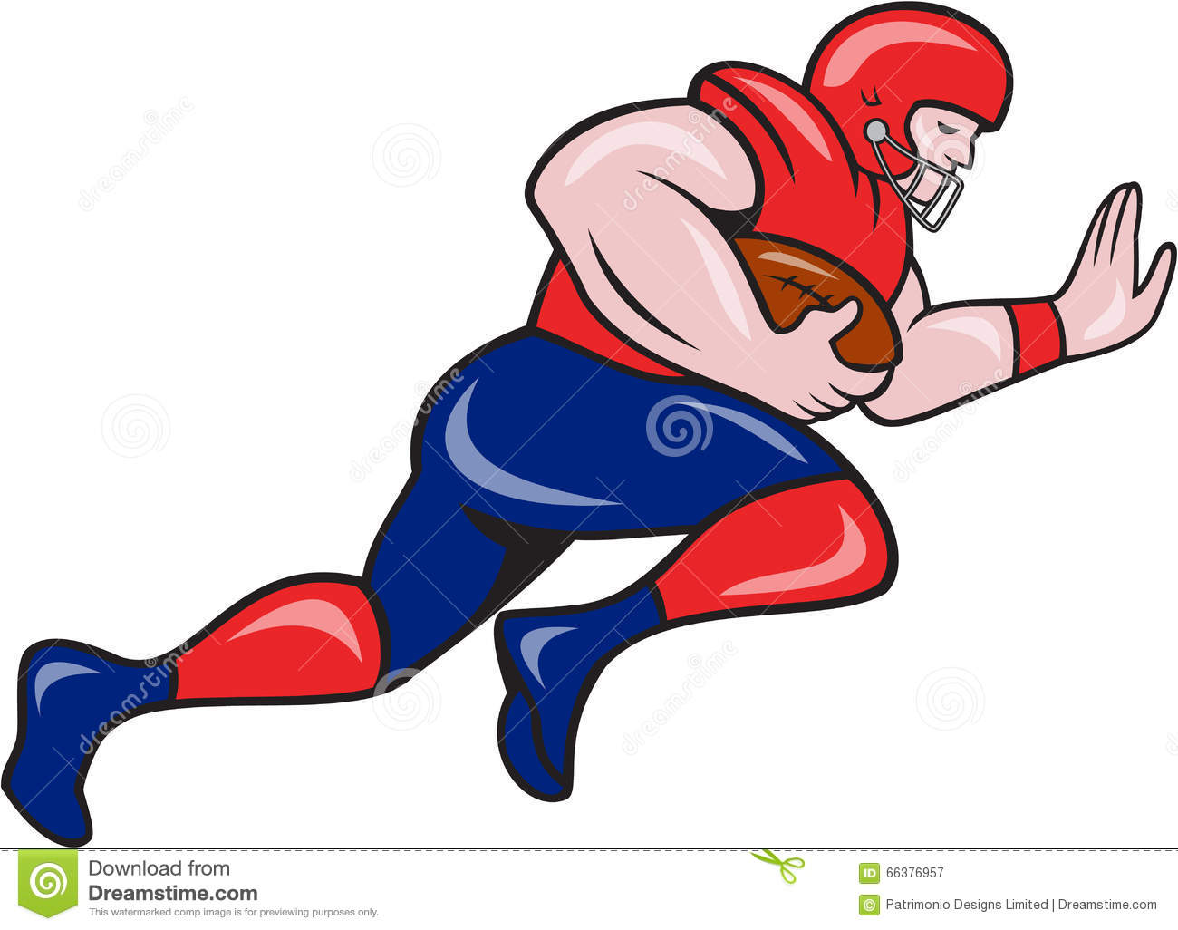 American football running back charging cartoon stock