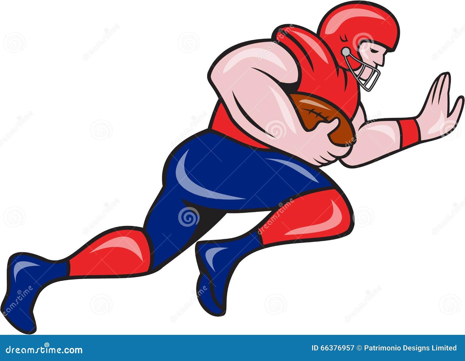 American football running back charging cartoon stock