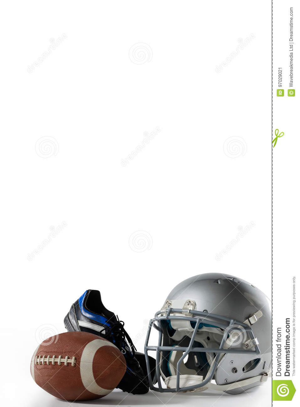 American football with sports helmet and shoe