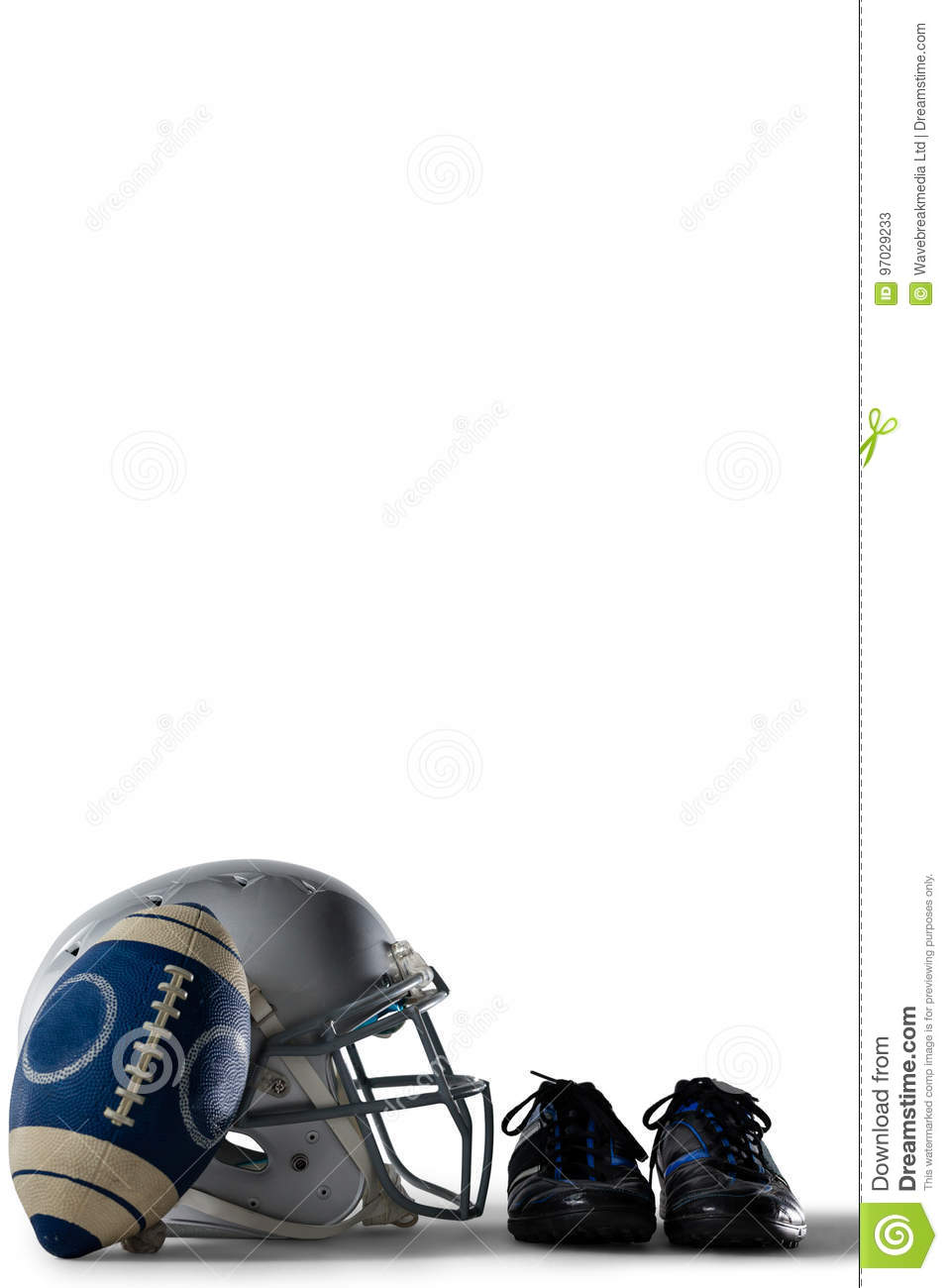 American football with sports shoes and helmet