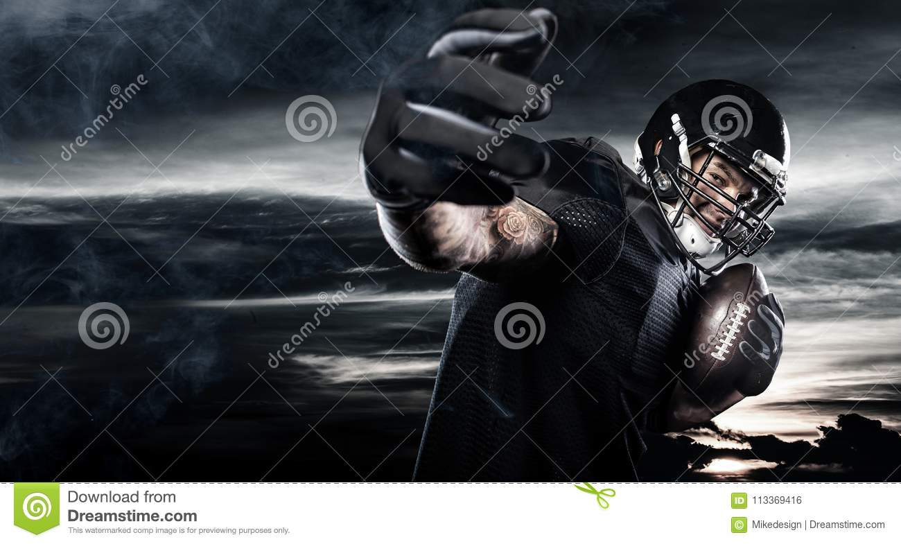 american football sportsman player over sky background. sports