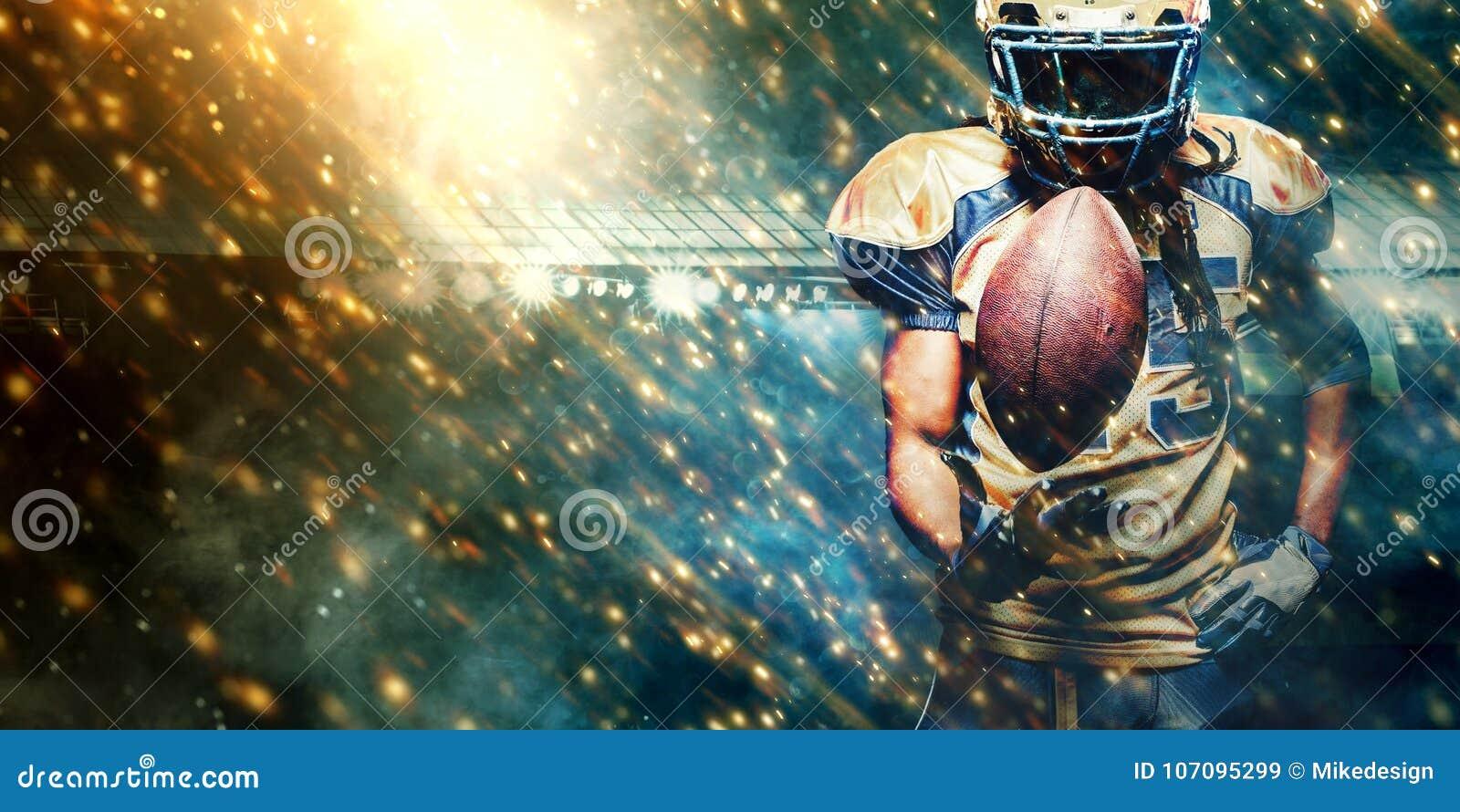 American Football Sportsman Player On Stadium Running In