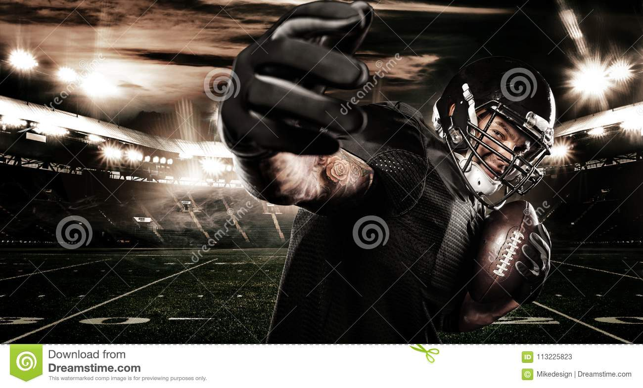 american football sportsman player on stadium. sports banner and