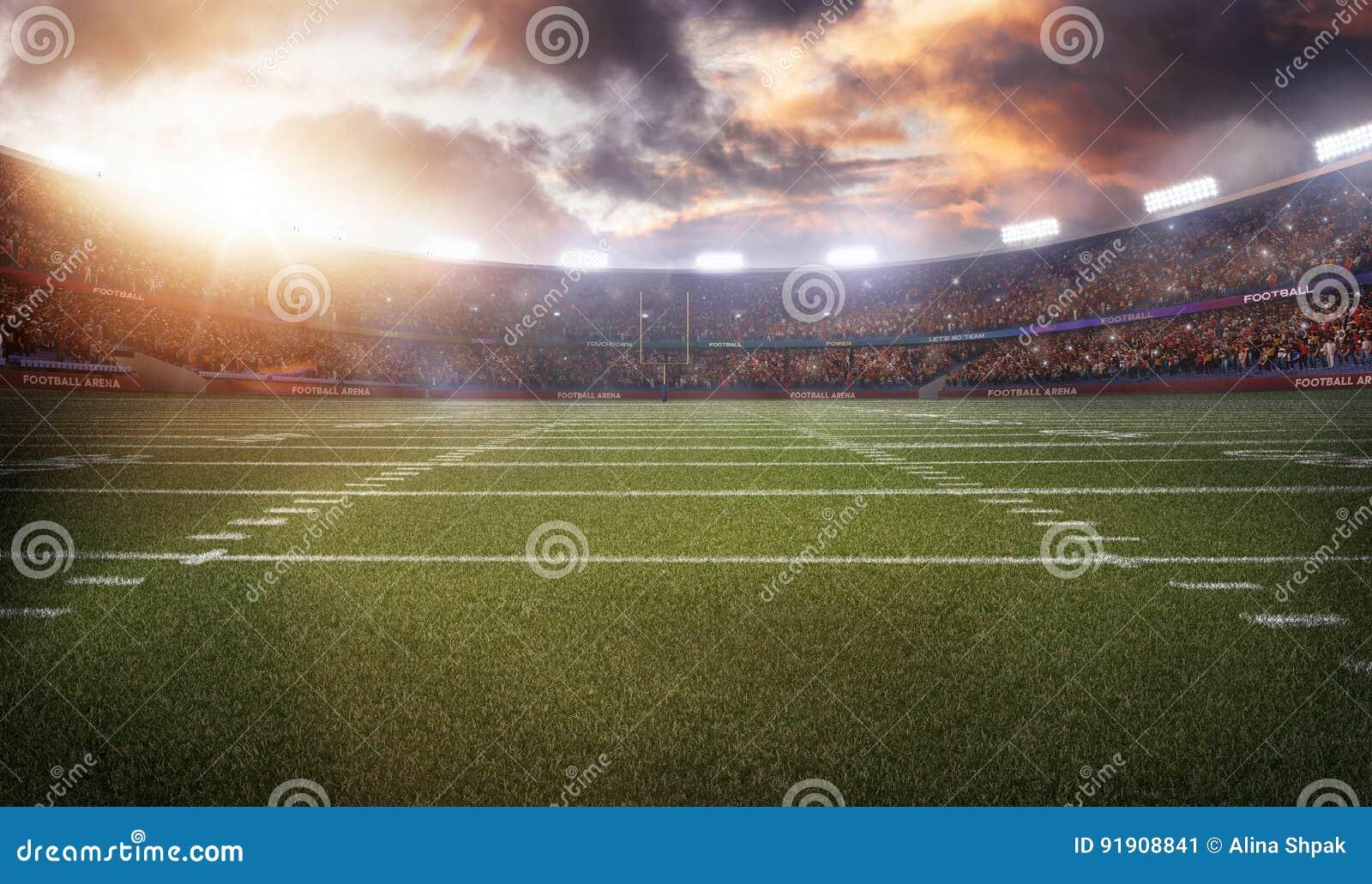 American football stadium 3D in light rays render